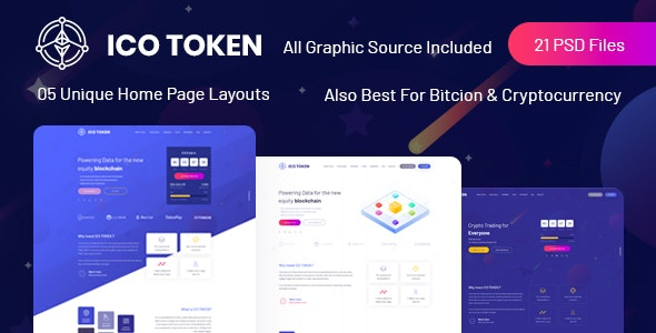 ICO TOKEN - Bitcoin & Cryptocurrency PSD Template - Marketing Corporate