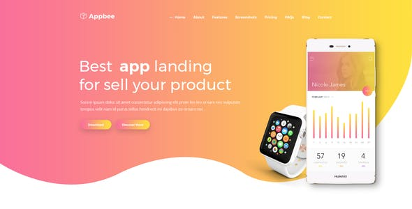 Appbee - App Landing PSD Template