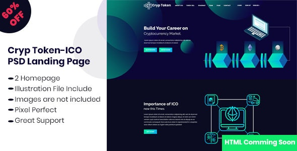 Cryp Token-ICO Crypto Currency PSD Landing Template - Marketing Corporate