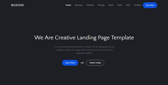 Busion - Responsive Bootstrap 4 Landing Template