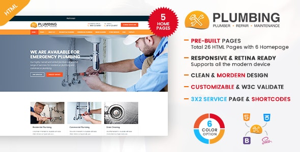 Plumbing - Plumber and Repair Services Maintenance HTML Template - Business Corporate