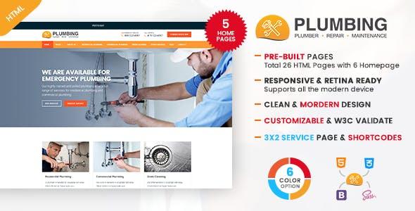 Plumbing - Plumber and Repair Services Maintenance HTML Template