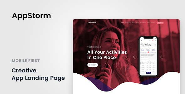 AppStorm - App Startup Template - Landing Pages Marketing