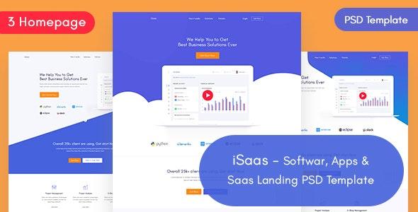 iSaas -Software, App, Saas Landing PSD Template - Software Technology