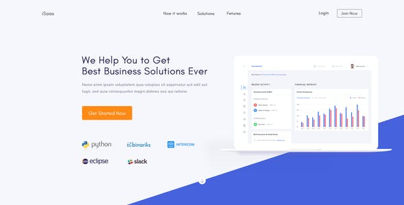 Sass Landing Page Technology PSD Templates from ThemeForest