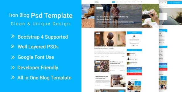 IronBlog - Blog Magazine Website PSD Template