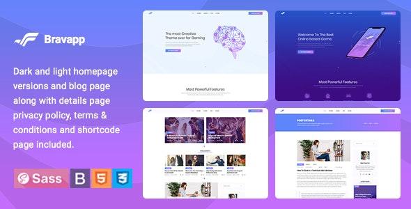 Bravapp - Game App HTML5 Template - Technology Site Templates