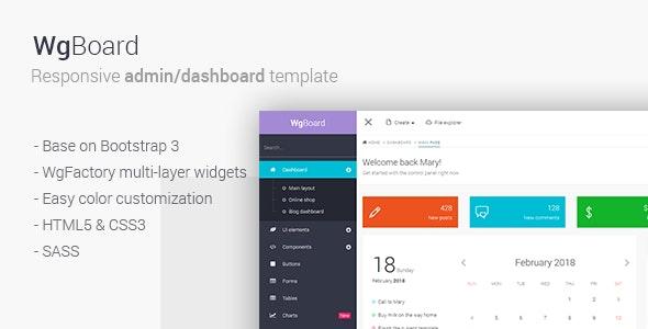 WgBoard - Responsive Admin/Dashboard Template - Admin Templates Site Templates