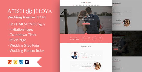 Atish and Jhoya - Responsive HTML5 Wedding Template by egprojets