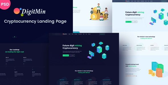 DigitMin - Bitcoin & Cryptocurrency PSD Template - Technology Photoshop