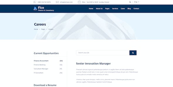 Fico - Finance & Consulting Business PSD Template
