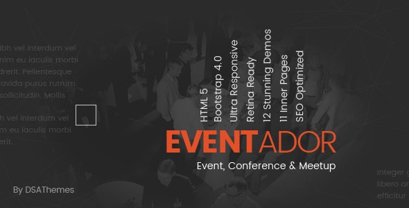 Eventador - Premium Event, Conference & Meeting Landing Pages Pack - Landing Pages Marketing
