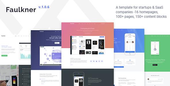 Faulkner - Responsive Startup, SaaS, Web App, Mobile App HTML5 Template - Corporate Site Templates