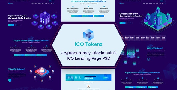 ICO Tokenz - Cryptocurrency Blockchain & ICO Landing Page PSD Template - Marketing Corporate