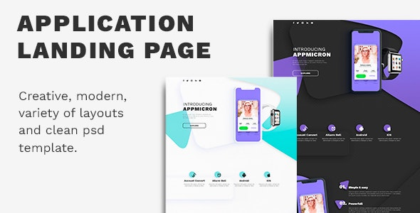 APPMICRON - PSD Application Landing Page - Corporate Photoshop