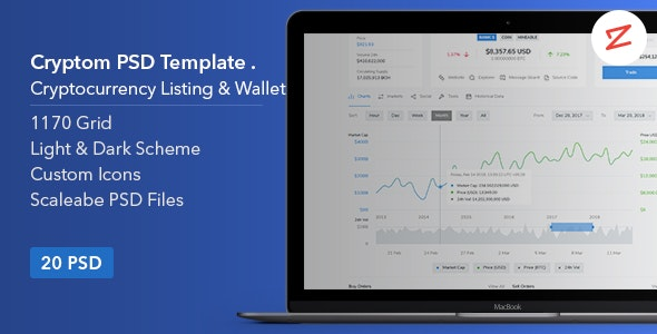 Cryptom- Crypto Currency PSD Template - Technology Photoshop