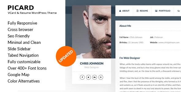 Picard - vCard & Resume WordPress Theme - Personal Blog / Magazine