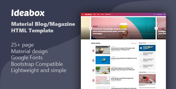 Ideabox - Material Blog/Magazine HTML Template - Site Templates