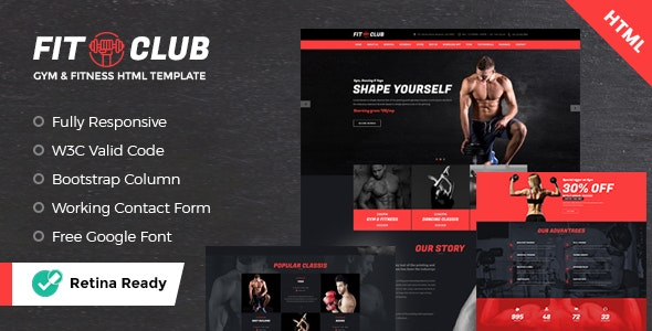 FITCLUB - Gym and Fitness Landing Page HTML - Health & Beauty Retail