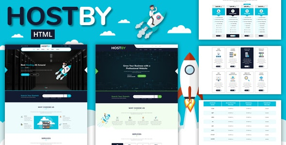 Hostby -  Multipage Hosting Bootstrap4 HTML Template - Hosting Technology