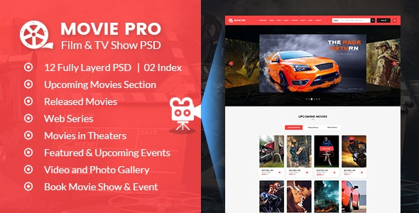 Movie Pro - Film and TV Show PSD Template - Film & TV Entertainment