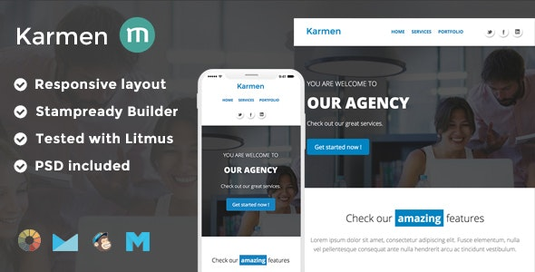 Karmen Responsive Email Template + Stampready Builder + Mailchimp + Mailster - Email Templates Marketing