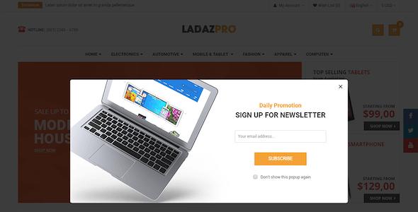 LadazPro - Advanced Multipurpose Responsive OpenCart 2.3 Theme