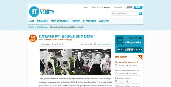 BT Variety - Fashion Catalog Joomla Template