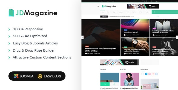 JD Magazine - Best Blog Joomla 3.9 Template - Joomla CMS Themes