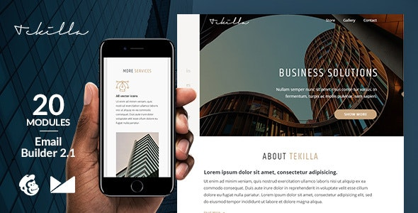 Tekilla Responsive Email Template + Online Emailbuilder 2.1 - Newsletters Email Templates