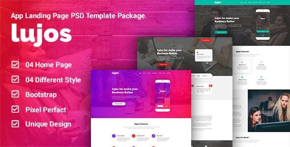 Lugos - App Landing Page PSD Package - Portfolio Creative