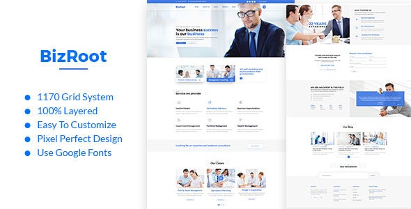 BizRoot - Business and Finance PSD Template - Business Corporate