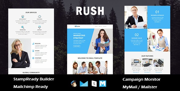 Rush - Multipurpose Responsive Email Template With Online Stampready Builder Access - Newsletters Email Templates