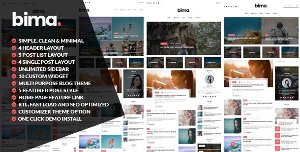 Bima - Modern & Clean WordPress Blog Theme by widhy980