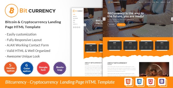 Bitcurrency - Bitcoin and Cryptocurrency Landing Page HTML Template - Technology Site Templates