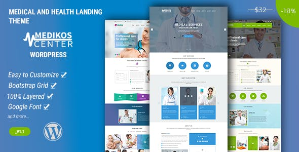 MediKos Center - Medical and Health WordPress Landing Theme