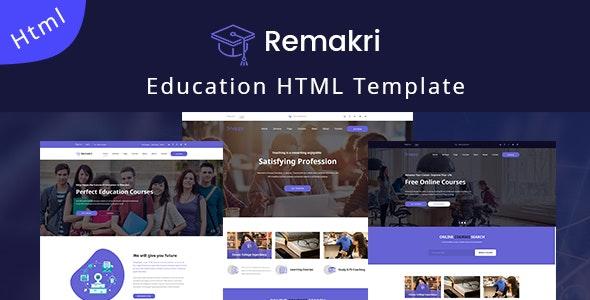 Remakri - Education Course HTML Template - Nonprofit Site Templates