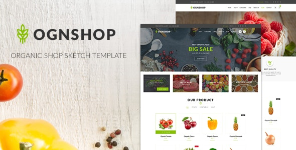 Ognshop - Organic Food & Health Products Sketch Template - Shopping Retail