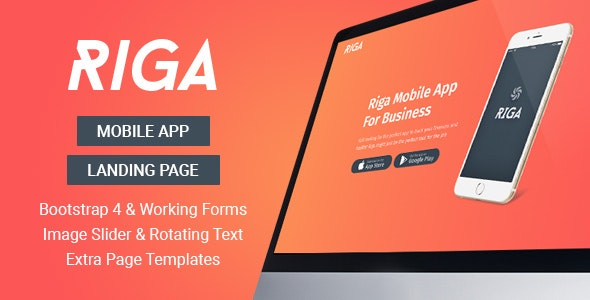Riga - Mobile App Landing Page Template - Apps Technology