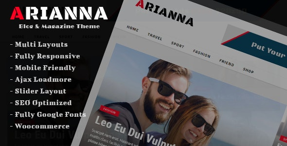 Arianna - Clean & Simple Blog/Magazine Theme - News / Editorial Blog / Magazine