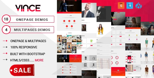 Vince Onepage & Multipages Business Drupal 8.9 Theme - Business Corporate