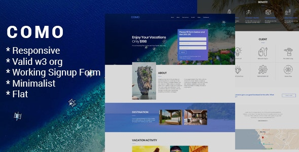 Como - One Page Responsive HTML with Working Sign Up Form - Marketing Corporate