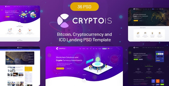 Cryptois - Bitcoin, Cryptocurrency and ICO Landing PSD Template - Marketing Corporate