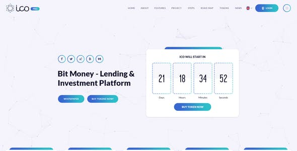 ICO Pro - Bitcoin Cryptocurrency Landing Page Muse Template