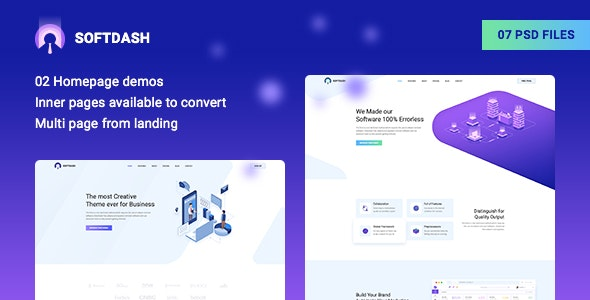Softdash - Creative SaaS and Software PSD Template - Technology Photoshop