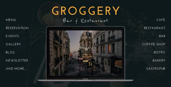 Groggery - Responsive Bar, Restaurant and Cafe WordPress Theme - Restaurants & Cafes Entertainment