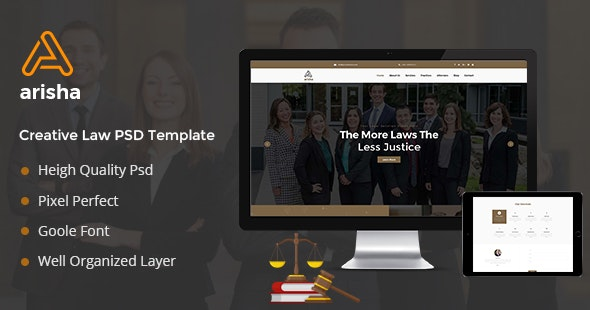 Aarisha - Law Firm Landing Page PSD Template - Business Corporate