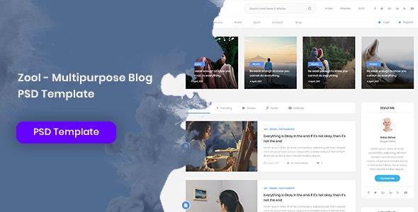 Zool - Multipurpose Blog PSD Template - Personal Photoshop