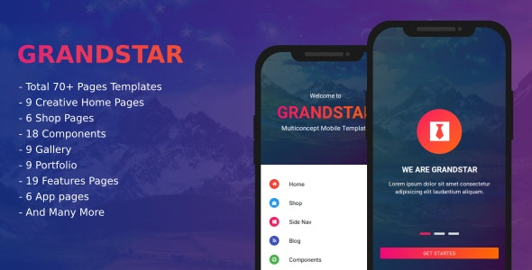 Grandstar Multiconcept Web App Ui Kit Mobile Template By Rabonadev