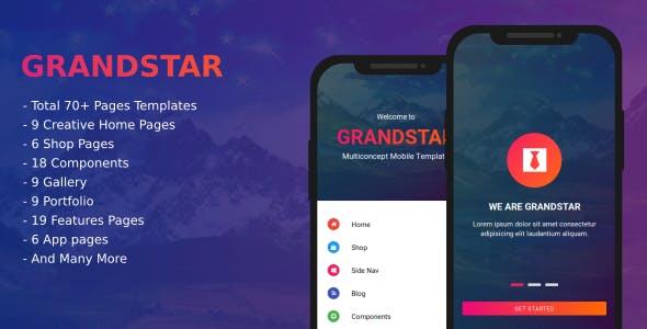 Grandstar - Multiconcept Web App UI Kit Mobile Template